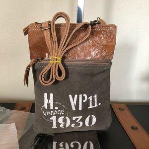 Handbags - Myra Bag VP11 Cowhide Canvas Crossbody small bag